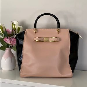 Ted Baker Patent Blocked Bow Leather Tote Bag